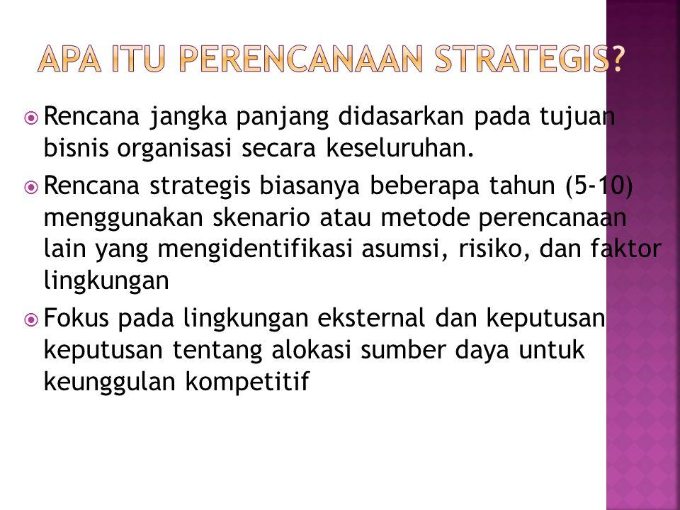  Rencana jangka panjang didasarkan pada tujuan bisnis organisasi secara keseluruhan.  Rencana strategis biasanya beberapa tahun (5-10) menggunakan s