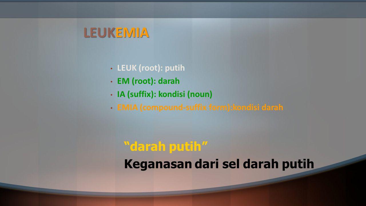 """LEUKEMIA LEUK (root): putih EM (root): darah IA (suffix): kondisi (noun) EMIA (compound-suffix form):kondisi darah """"darah putih"""" Keganasan dari sel da"""