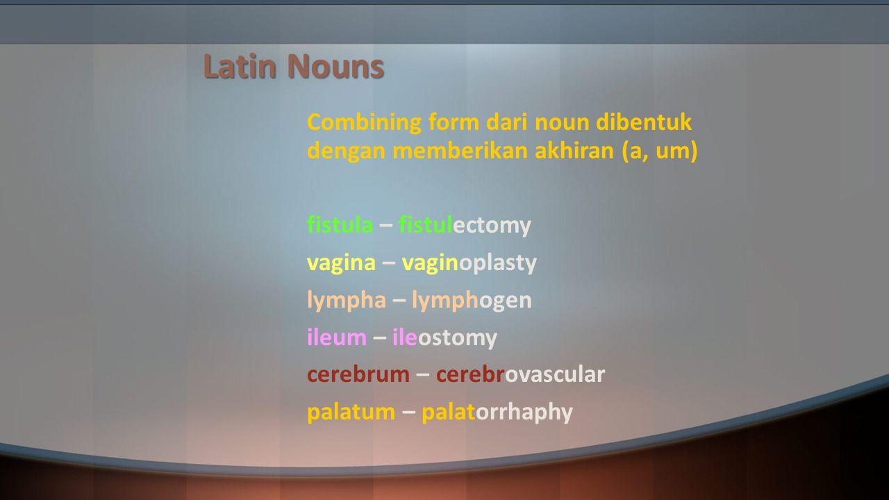 Latin Nouns Combining form dari noun dibentuk dengan memberikan akhiran (a, um) fistula – fistulectomy vagina – vaginoplasty lympha – lymphogen ileum