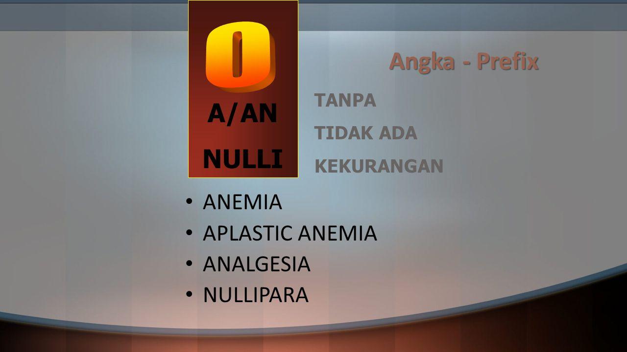 Angka - Prefix A/AN NULLI ANEMIA APLASTIC ANEMIA ANALGESIA NULLIPARA TANPA TIDAK ADA KEKURANGAN