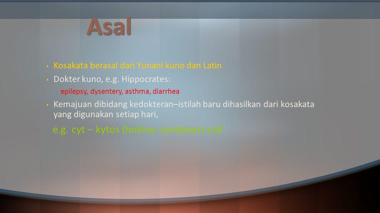 Jaringan Jaringan memiliki istilah yang berbeda pada kondisi normal dan abnormal Normal  Bahasa Latin Abnormal/Penyakit  Bahasa Yunani