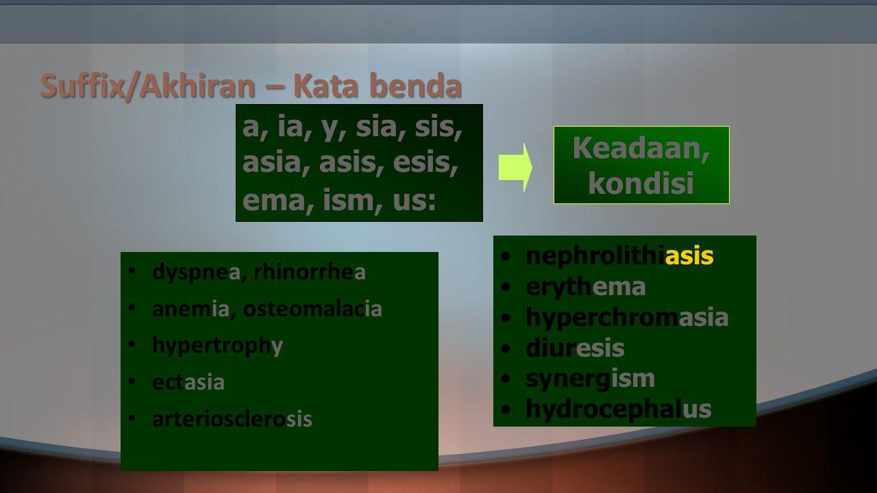 Suffix/Akhiran – Kata benda dyspnea, rhinorrhea anemia, osteomalacia hypertrophy ectasia arteriosclerosis a, ia, y, sia, sis, asia, asis, esis, ema, i