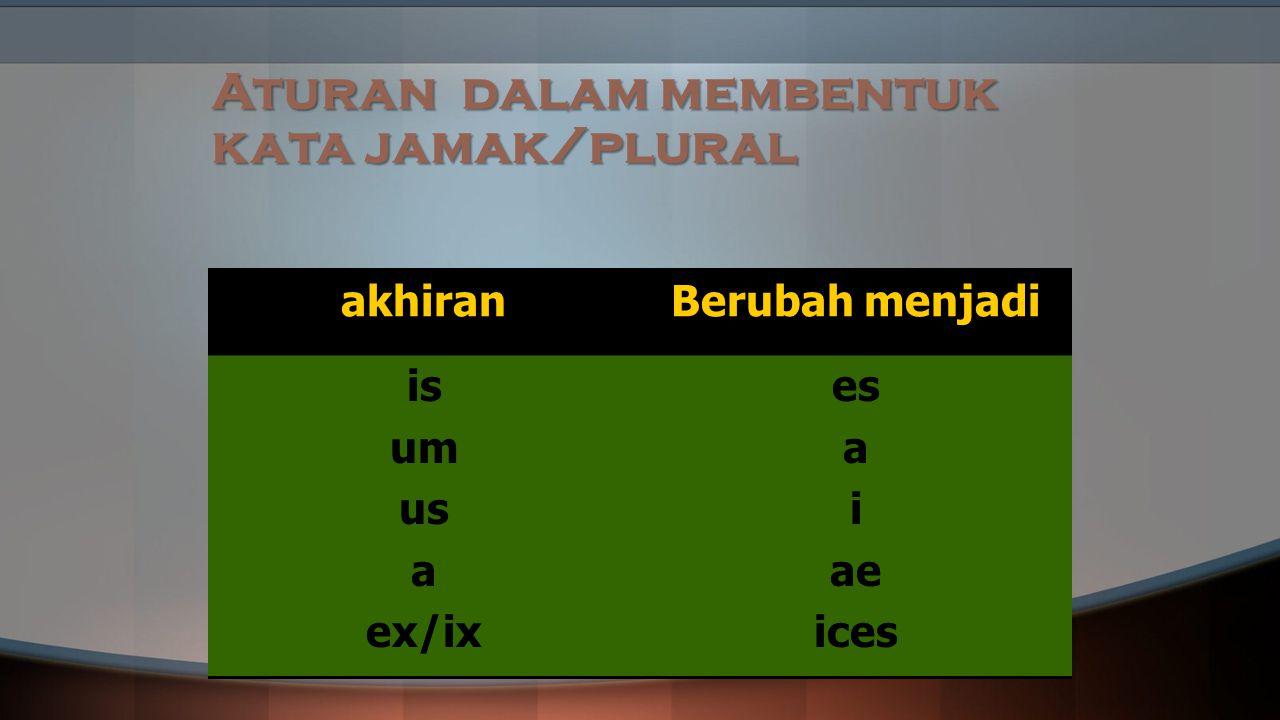 Aturan dalam membentuk kata jamak/plural akhiranBerubah menjadi is um us a ex/ix es a i ae ices