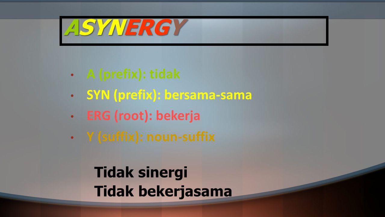 ASYNERGY A (prefix): tidak SYN (prefix): bersama-sama ERG (root): bekerja Y (suffix): noun-suffix Tidak sinergi Tidak bekerjasama