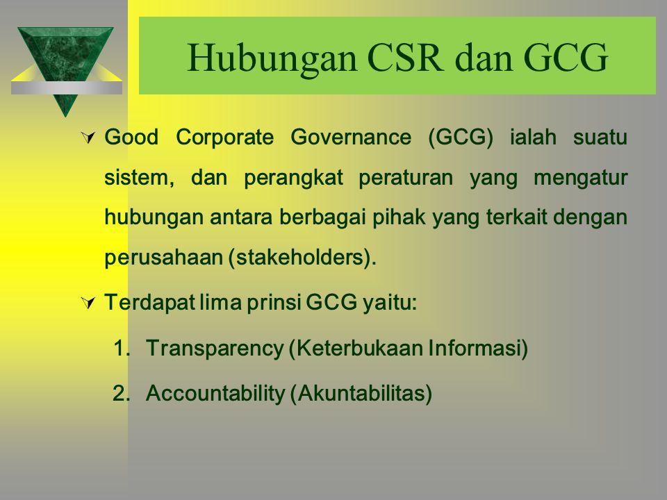 Hubungan CSR dan GCG  Good Corporate Governance (GCG) ialah suatu sistem, dan perangkat peraturan yang mengatur hubungan antara berbagai pihak yang t