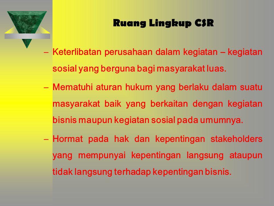 Ruang Lingkup CSR –Keterlibatan perusahaan dalam kegiatan – kegiatan sosial yang berguna bagi masyarakat luas. –Mematuhi aturan hukum yang berlaku dal