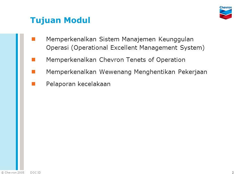 DOC ID © Chevron 2005 2 Tujuan Modul Memperkenalkan Sistem Manajemen Keunggulan Operasi (Operational Excellent Management System) Memperkenalkan Chevr