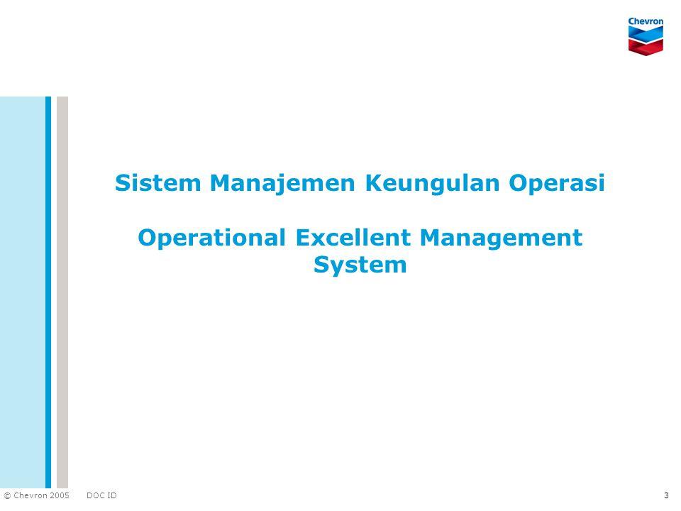 DOC ID © Chevron 2005 3 Sistem Manajemen Keungulan Operasi Operational Excellent Management System