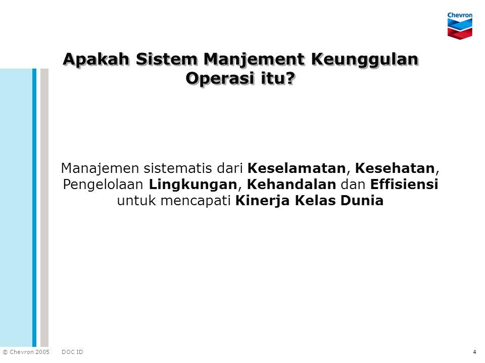 DOC ID © Chevron 2005 4 Apakah Sistem Manjement Keunggulan Operasi itu? Manajemen sistematis dari Keselamatan, Kesehatan, Pengelolaan Lingkungan, Keha