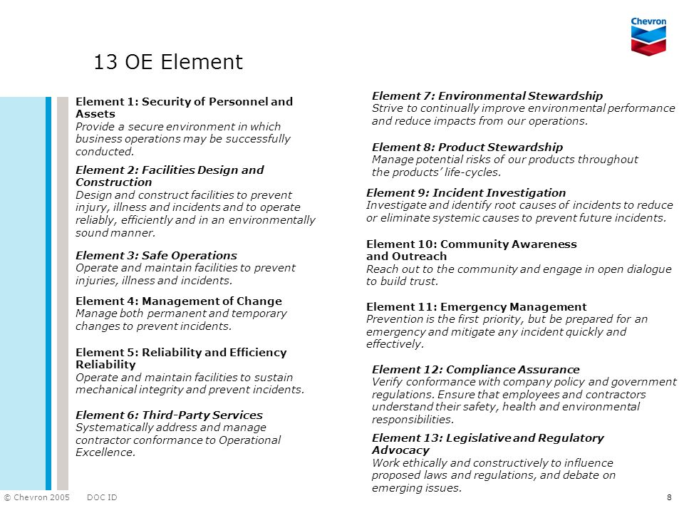 DOC ID © Chevron 2005 8 13 OE Element Element 1: Security of Personnel and Assets Provide a secure environment in which business operations may be successfully conducted.