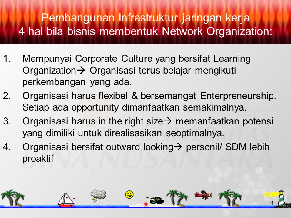 14 Pembangunan Infrastruktur jaringan kerja 4 hal bila bisnis membentuk Network Organization: 1.Mempunyai Corporate Culture yang bersifat Learning Organization  Organisasi terus belajar mengikuti perkembangan yang ada.