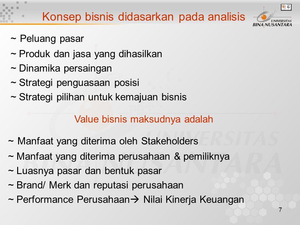 7 Konsep bisnis didasarkan pada analisis ~ Peluang pasar ~ Produk dan jasa yang dihasilkan ~ Dinamika persaingan ~ Strategi penguasaan posisi ~ Strategi pilihan untuk kemajuan bisnis Value bisnis maksudnya adalah ~ Manfaat yang diterima oleh Stakeholders ~ Manfaat yang diterima perusahaan & pemiliknya ~ Luasnya pasar dan bentuk pasar ~ Brand/ Merk dan reputasi perusahaan ~ Performance Perusahaan  Nilai Kinerja Keuangan