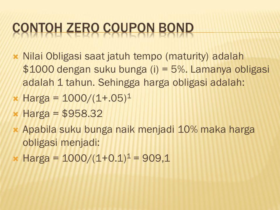  Nilai Obligasi saat jatuh tempo (maturity) adalah $1000 dengan suku bunga (i) = 5%. Lamanya obligasi adalah 1 tahun. Sehingga harga obligasi adalah: