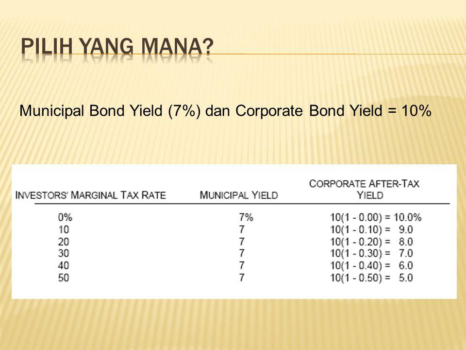 Municipal Bond Yield (7%) dan Corporate Bond Yield = 10%