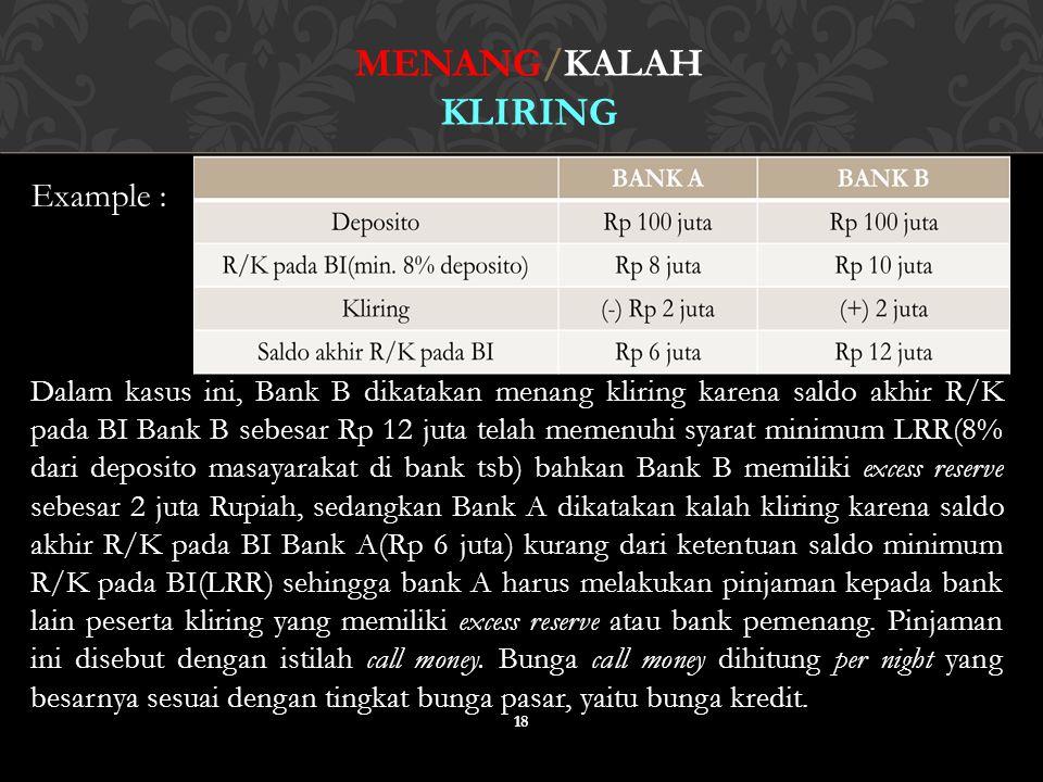18 MENANG/KALAH KLIRING Example : Dalam kasus ini, Bank B dikatakan menang kliring karena saldo akhir R/K pada BI Bank B sebesar Rp 12 juta telah meme