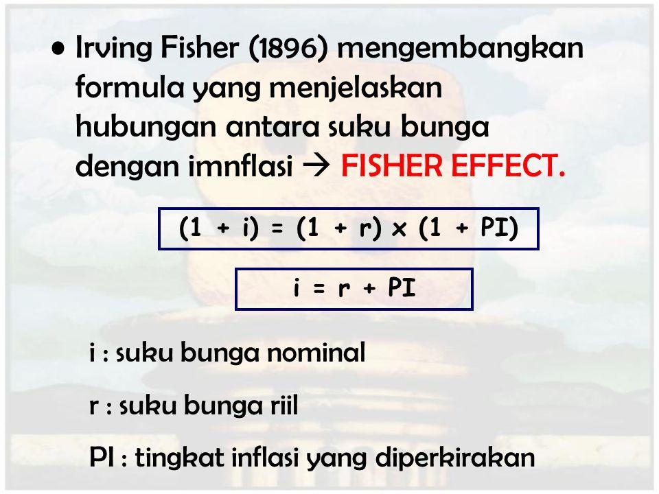 Irving Fisher (1896) mengembangkan formula yang menjelaskan hubungan antara suku bunga dengan imnflasi  FISHER EFFECT. (1 + i) = (1 + r) x (1 + PI) i