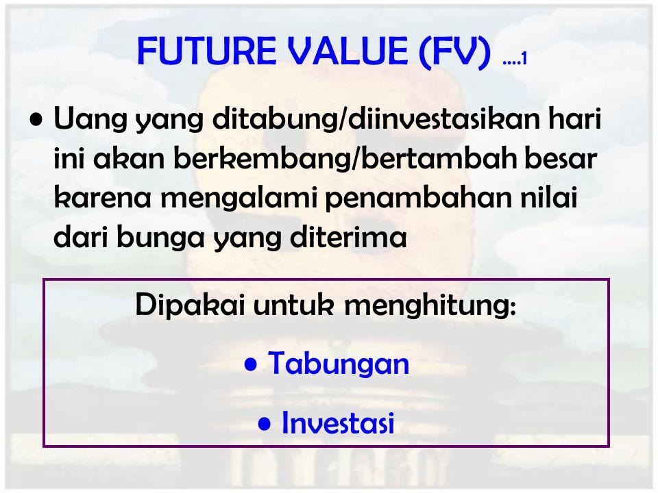 FUTURE VALUE (FV) ….1 Uang yang ditabung/diinvestasikan hari ini akan berkembang/bertambah besar karena mengalami penambahan nilai dari bunga yang dit