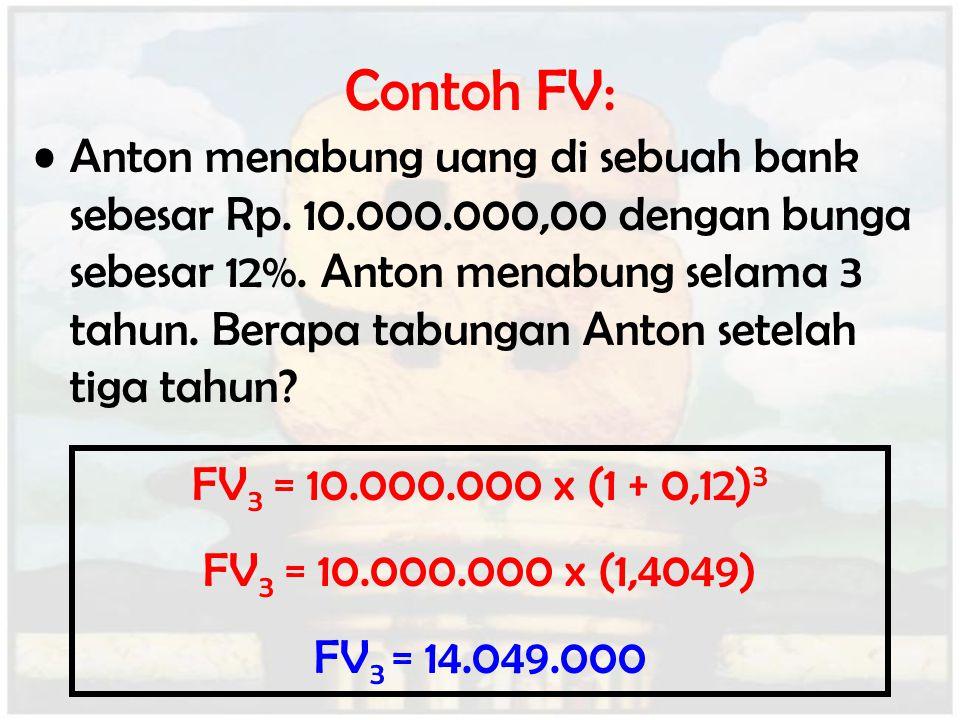 Contoh FV: Anton menabung uang di sebuah bank sebesar Rp. 10.000.000,00 dengan bunga sebesar 12%. Anton menabung selama 3 tahun. Berapa tabungan Anton