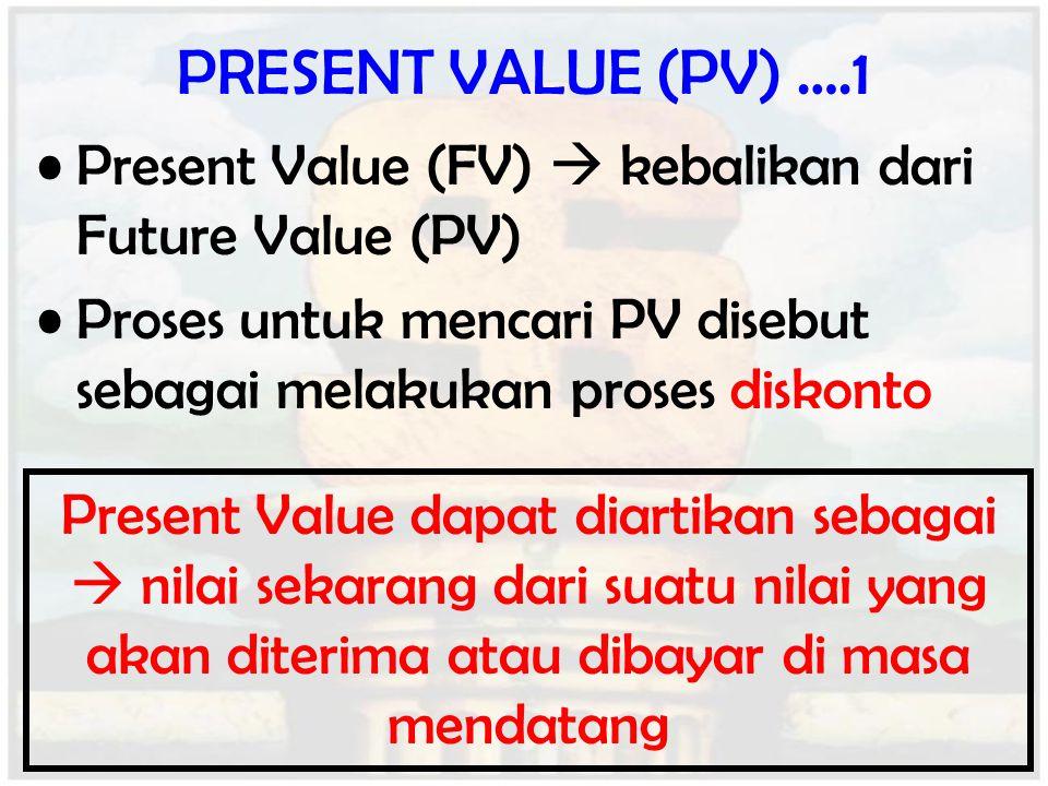 PRESENT VALUE (PV) ….1 Present Value (FV)  kebalikan dari Future Value (PV) Proses untuk mencari PV disebut sebagai melakukan proses diskonto Present