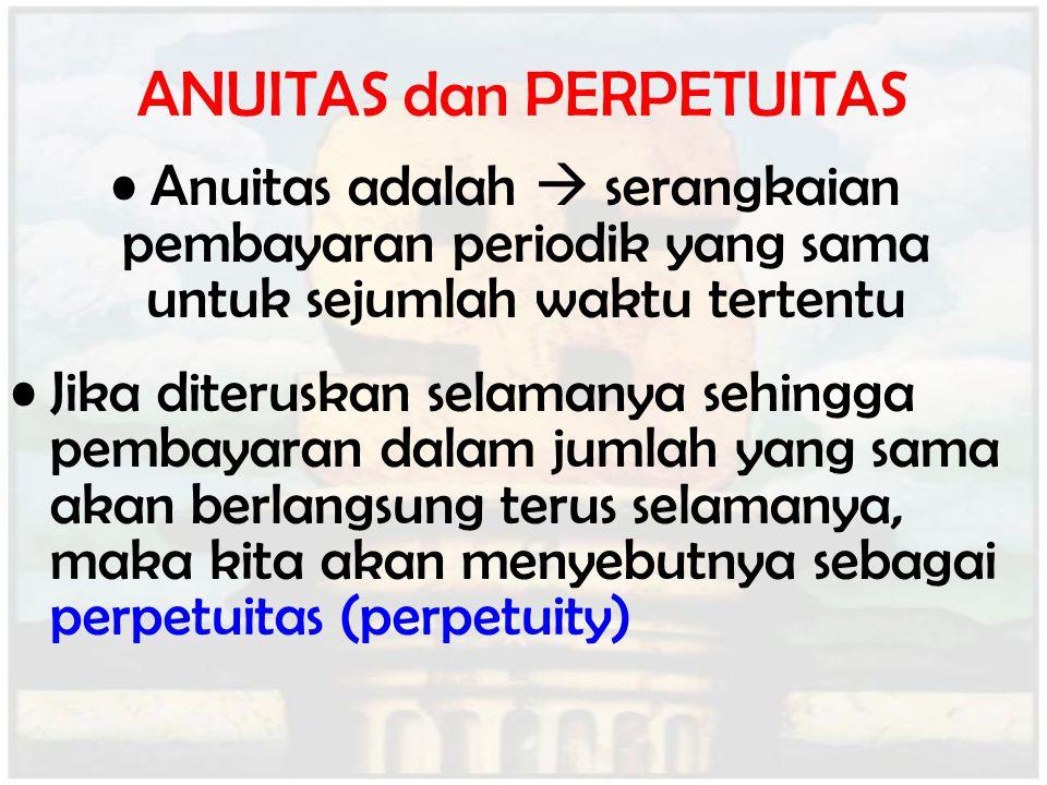 ANUITAS dan PERPETUITAS Anuitas adalah  serangkaian pembayaran periodik yang sama untuk sejumlah waktu tertentu Jika diteruskan selamanya sehingga pe