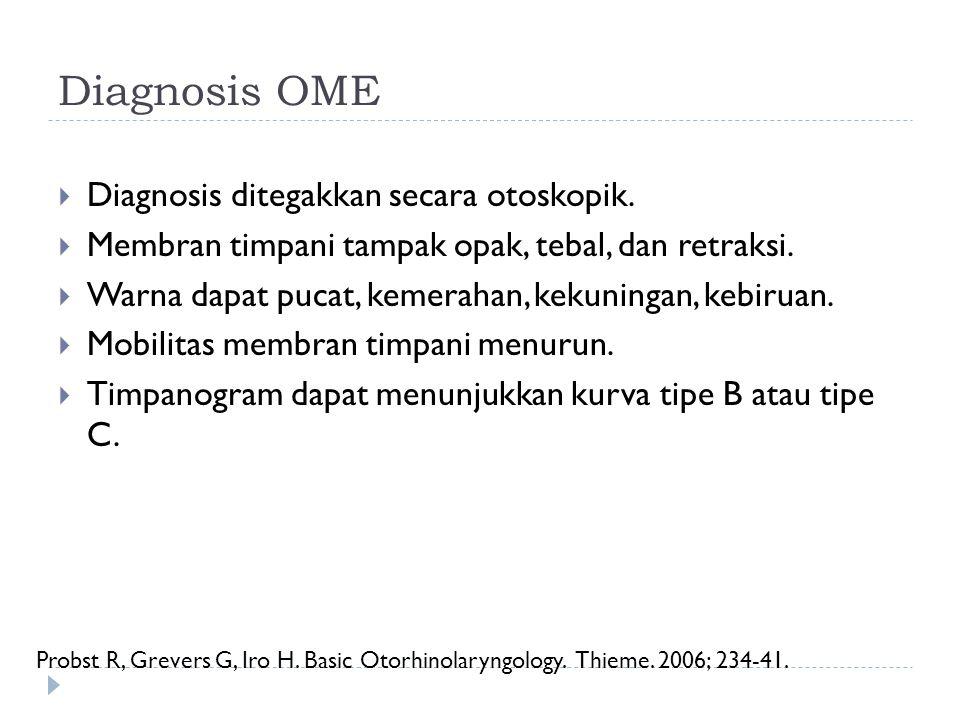 Diagnosis OME  Diagnosis ditegakkan secara otoskopik.  Membran timpani tampak opak, tebal, dan retraksi.  Warna dapat pucat, kemerahan, kekuningan,
