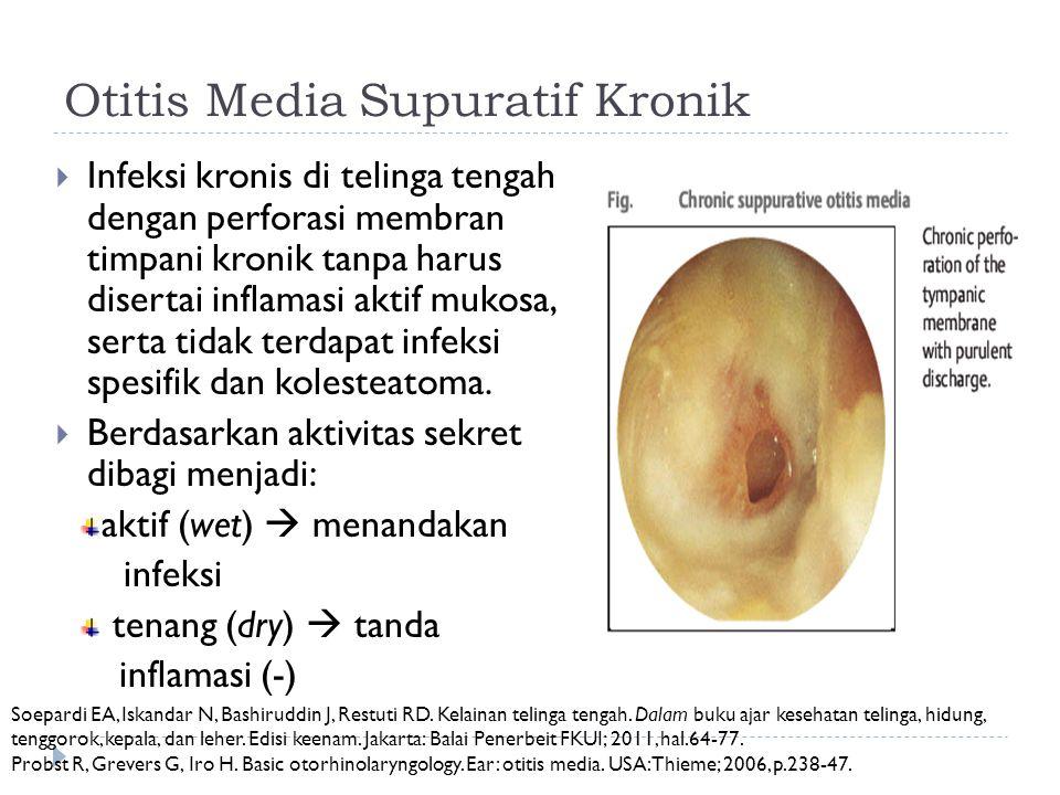 Otitis Media Supuratif Kronik  Infeksi kronis di telinga tengah dengan perforasi membran timpani kronik tanpa harus disertai inflamasi aktif mukosa,
