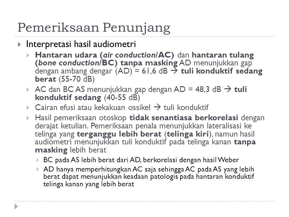 Pemeriksaan Penunjang  Interpretasi hasil audiometri  Hantaran udara (air conduction/AC) dan hantaran tulang (bone conduction/BC) tanpa masking AD m