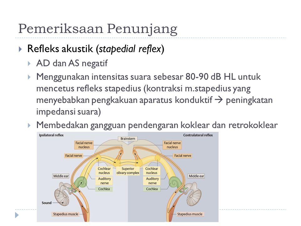 Pemeriksaan Penunjang  Refleks akustik (stapedial reflex)  AD dan AS negatif  Menggunakan intensitas suara sebesar 80-90 dB HL untuk mencetus refle
