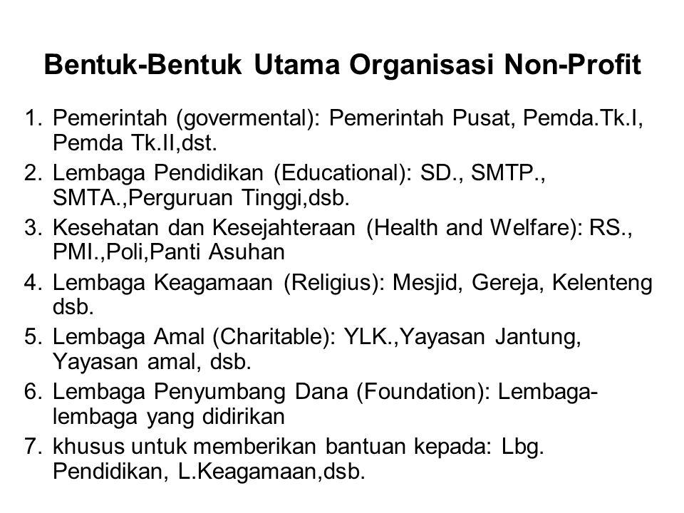 Bentuk-Bentuk Utama Organisasi Non-Profit 1.Pemerintah (govermental): Pemerintah Pusat, Pemda.Tk.I, Pemda Tk.II,dst. 2.Lembaga Pendidikan (Educational