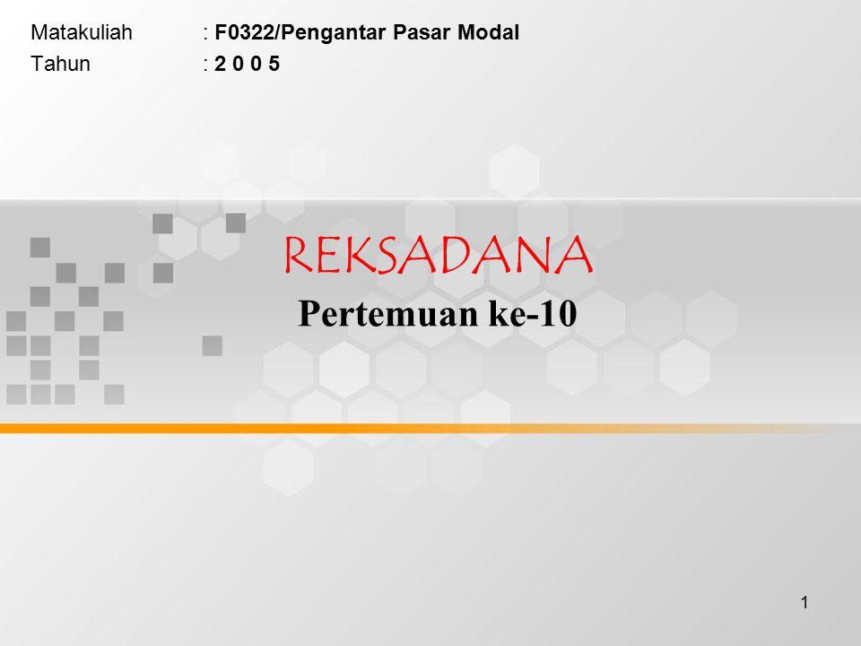 1 REKSADANA Pertemuan ke-10 Matakuliah: F0322/Pengantar Pasar Modal Tahun: 2 0 0 5