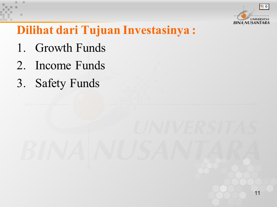 11 Dilihat dari Tujuan Investasinya : 1.Growth Funds 2.Income Funds 3.Safety Funds