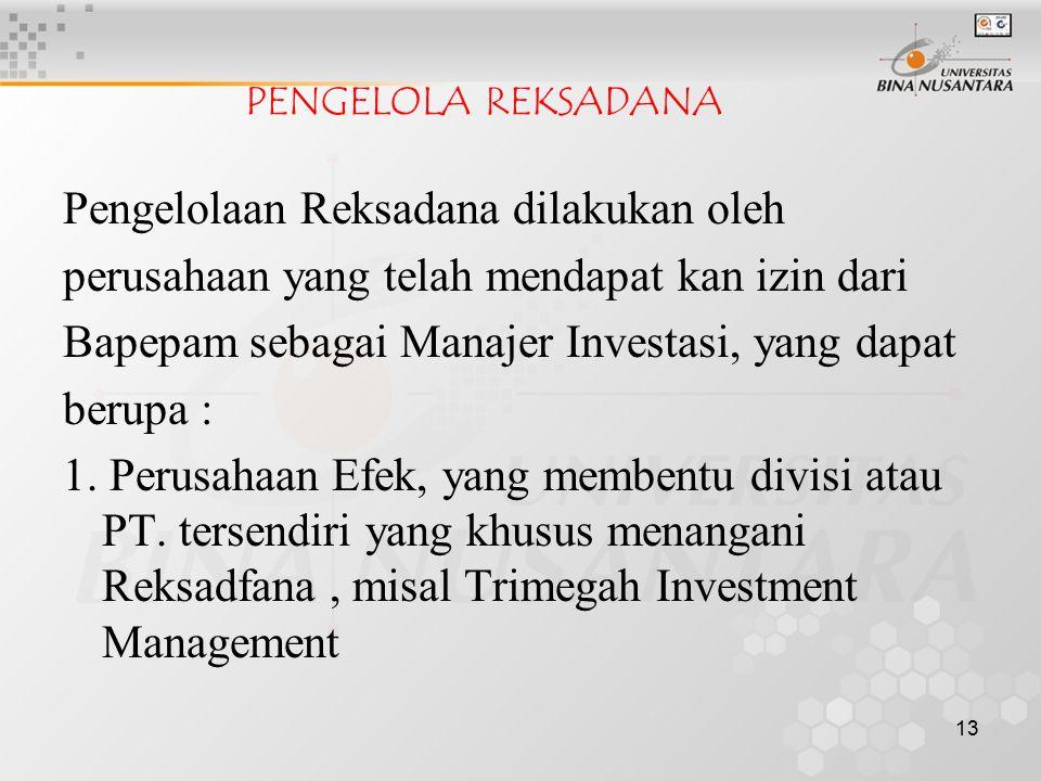 13 PENGELOLA REKSADANA Pengelolaan Reksadana dilakukan oleh perusahaan yang telah mendapat kan izin dari Bapepam sebagai Manajer Investasi, yang dapat