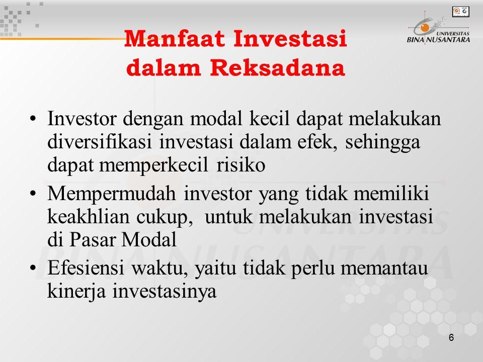 6 Manfaat Investasi dalam Reksadana Investor dengan modal kecil dapat melakukan diversifikasi investasi dalam efek, sehingga dapat memperkecil risiko