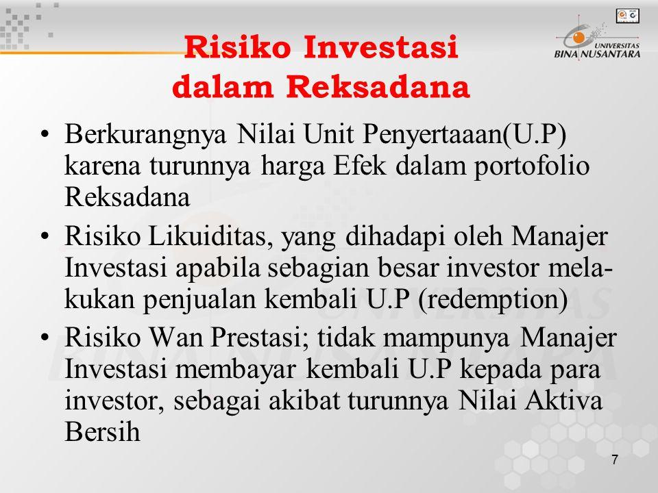 7 Risiko Investasi dalam Reksadana Berkurangnya Nilai Unit Penyertaaan(U.P) karena turunnya harga Efek dalam portofolio Reksadana Risiko Likuiditas, y