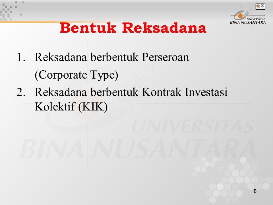 8 Bentuk Reksadana 1.Reksadana berbentuk Perseroan (Corporate Type) 2. Reksadana berbentuk Kontrak Investasi Kolektif (KIK)
