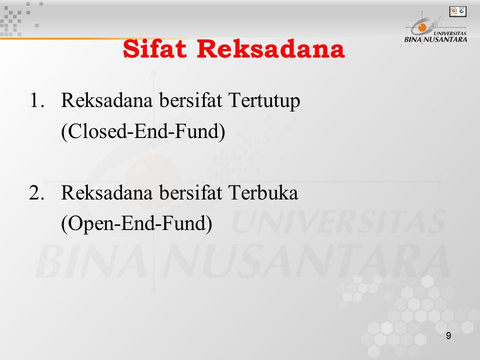 9 Sifat Reksadana 1.Reksadana bersifat Tertutup (Closed-End-Fund) 2.Reksadana bersifat Terbuka (Open-End-Fund)