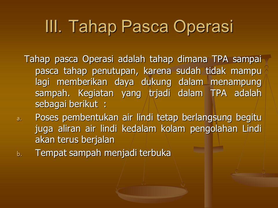 III. Tahap Pasca Operasi Tahap pasca Operasi adalah tahap dimana TPA sampai pasca tahap penutupan, karena sudah tidak mampu lagi memberikan daya dukun