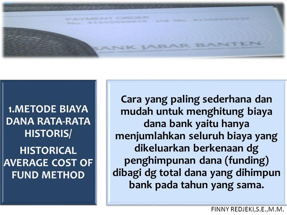 1.METODE BIAYA DANA RATA-RATA HISTORIS/ HISTORICAL AVERAGE COST OF FUND METHOD Cara yang paling sederhana dan mudah untuk menghitung biaya dana bank y