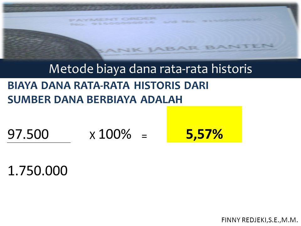 Metode biaya dana rata-rata historis BIAYA DANA RATA-RATA HISTORIS DARI SUMBER DANA BERBIAYA ADALAH 97.500 X 100% = 5,57% 1.750.000 FINNY REDJEKI,S.E.