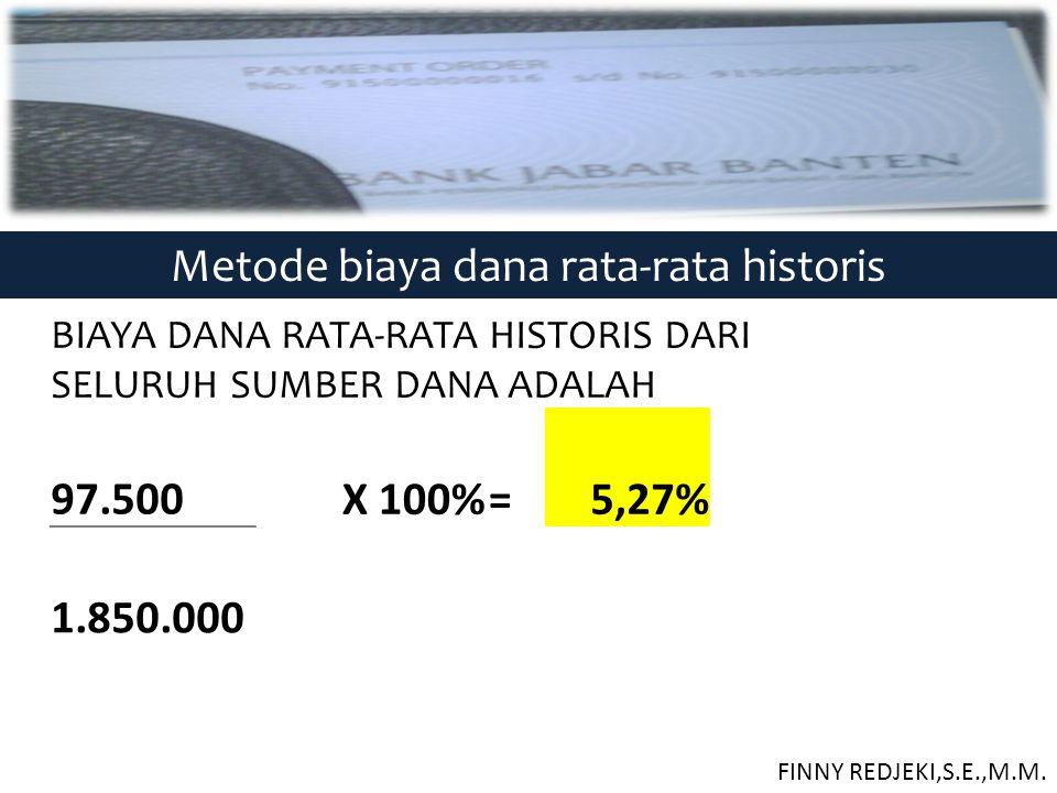 Metode biaya dana rata-rata historis BIAYA DANA RATA-RATA HISTORIS DARI SELURUH SUMBER DANA ADALAH 97.500 X 100%=5,27% 1.850.000 FINNY REDJEKI,S.E.,M.