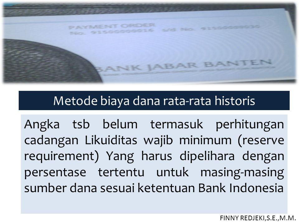 Metode biaya dana rata-rata historis Angka tsb belum termasuk perhitungan cadangan Likuiditas wajib minimum (reserve requirement) Yang harus dipelihar