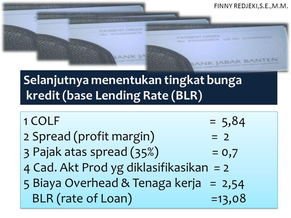 1 COLF = 5,84 2 Spread (profit margin) = 2 3 Pajak atas spread (35%) = 0,7 4 Cad. Akt Prod yg diklasifikasikan = 2 5 Biaya Overhead & Tenaga kerja = 2