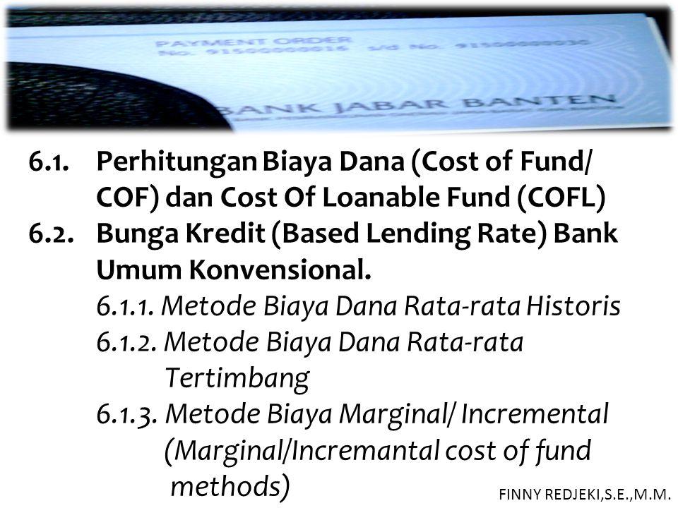 6.1. Perhitungan Biaya Dana (Cost of Fund/ COF) dan Cost Of Loanable Fund (COFL) 6.2. Bunga Kredit (Based Lending Rate) Bank Umum Konvensional. 6.1.1.