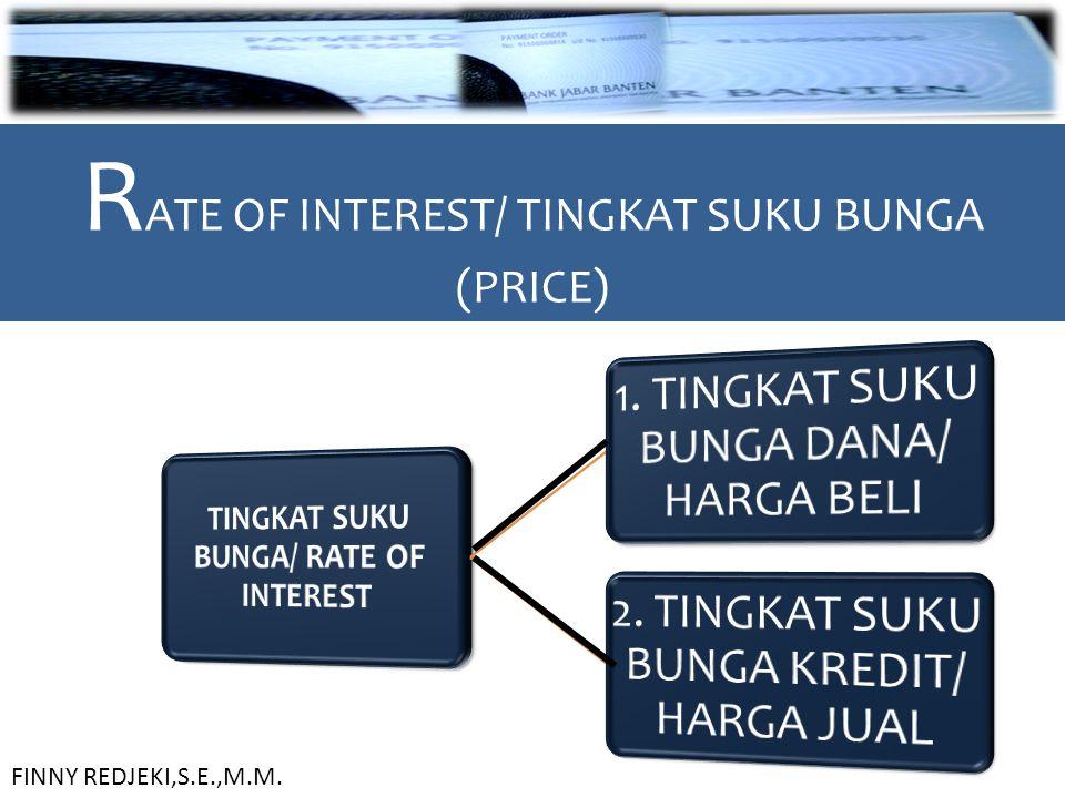 R ATE OF INTEREST/ TINGKAT SUKU BUNGA (PRICE) FINNY REDJEKI,S.E.,M.M.