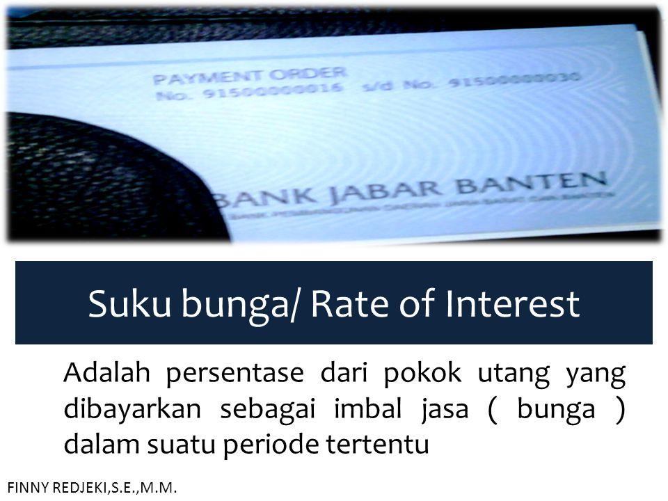 Suku bunga/ Rate of Interest Adalah persentase dari pokok utang yang dibayarkan sebagai imbal jasa ( bunga ) dalam suatu periode tertentu FINNY REDJEK