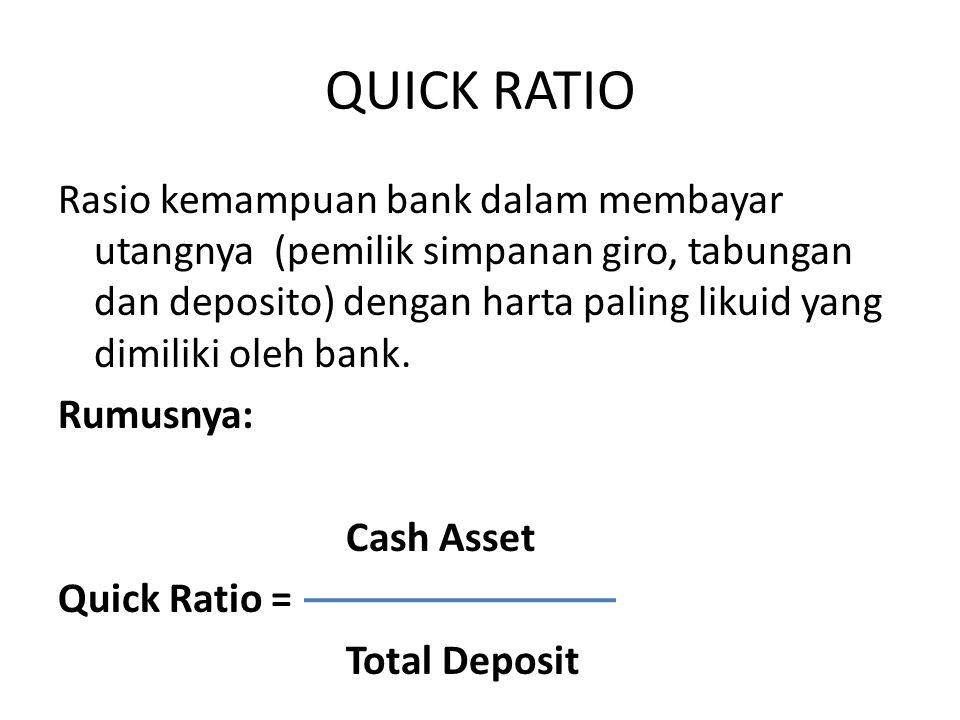 QUICK RATIO Rasio kemampuan bank dalam membayar utangnya (pemilik simpanan giro, tabungan dan deposito) dengan harta paling likuid yang dimiliki oleh
