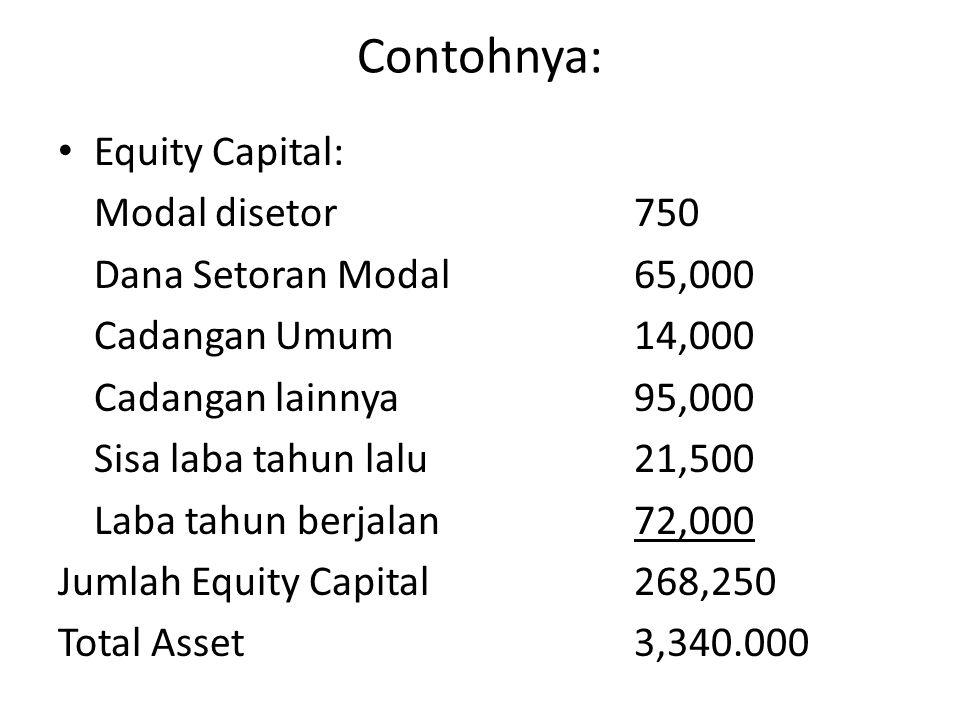 Contohnya: Equity Capital: Modal disetor750 Dana Setoran Modal65,000 Cadangan Umum14,000 Cadangan lainnya95,000 Sisa laba tahun lalu21,500 Laba tahun