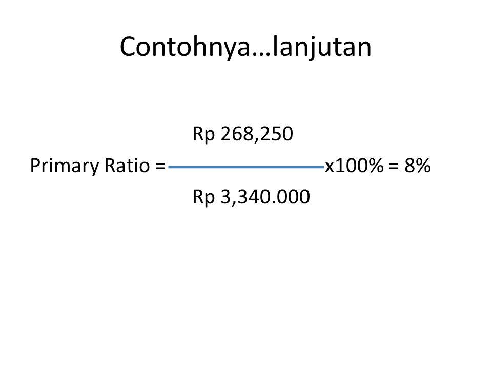 Contohnya…lanjutan Rp 268,250 Primary Ratio =x100% = 8% Rp 3,340.000