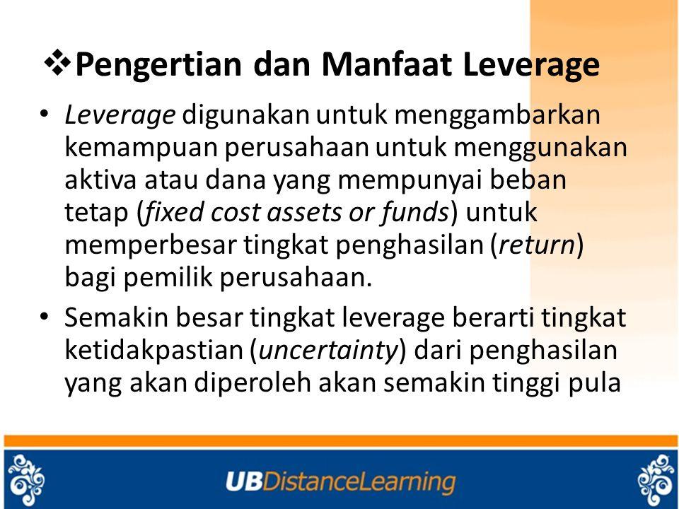 Leverage Operasi Ukuran leverage operasi disebut degree of operating leverage (DOL).