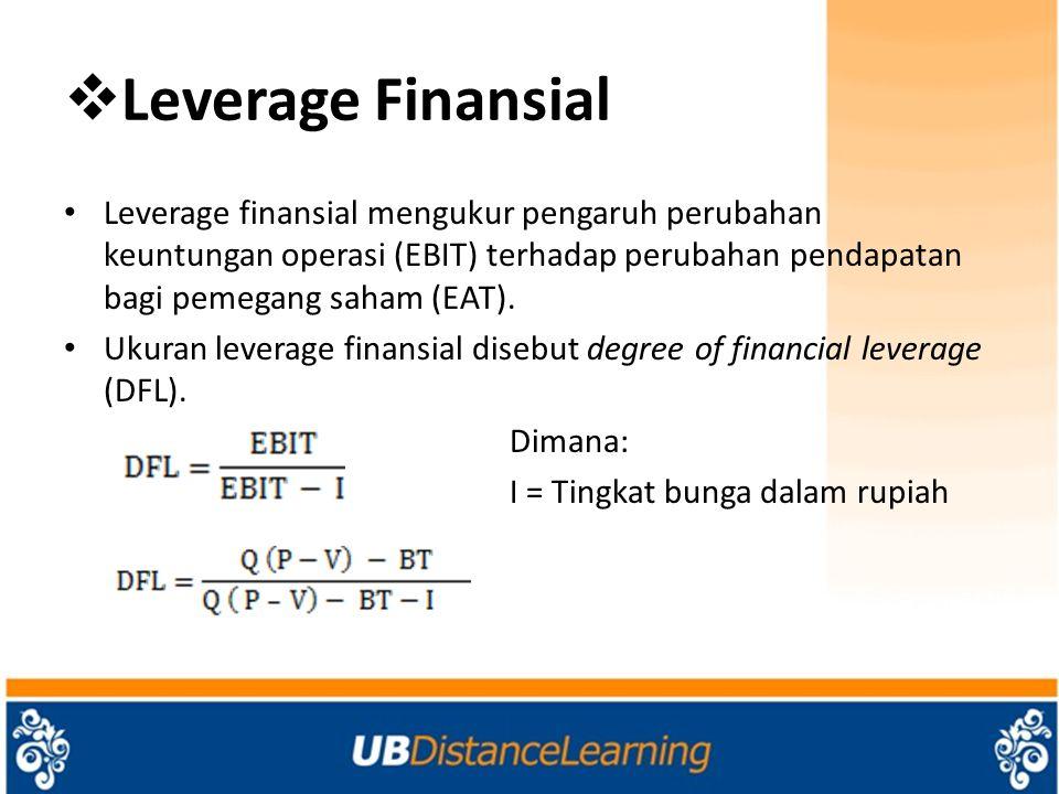  Leverage Kombinasi Leverage kombinasi adalah pengaruh perubahan penjualan terhadap perubahan laba setelah pajak.